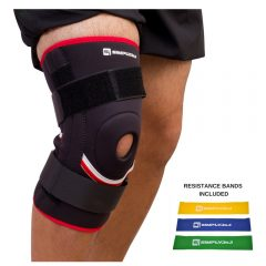 SimplyJnJ Open Patella Knee Support Sleeve w Flexible Side Stabilizer Stays and Removble Straps Bonus 2
