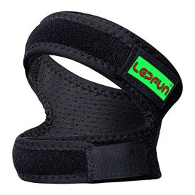 Lepfun P3000 Patella Knee Strap,Adjustable Dual Strap Band Brace for Knee Support- Fit Running, Basketball and Arthritis.Black(1 Piece),11'' - 22''