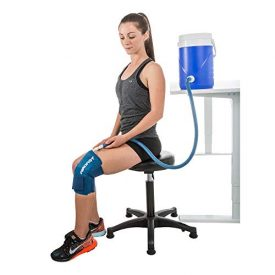 Aircast Cryo Cuff Knee Cold Therapy Machine Cooler for Cold Therapy Knee Solution - Blue - Large, Non Motorized, Gravity-Fed System